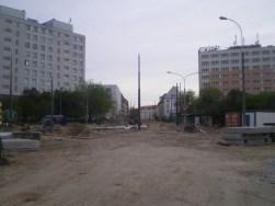 Budowa linii tramwajowej na placu Konstytucji 3 Maja (13 maja 2015)