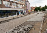 Budowa linii tramwajowej w ulicy 11 Listopada (12 lipca 2015)
