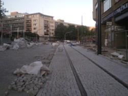 Budowa linii tramwajowej na placu Jana Pawła II (15 sierpnia 2015)