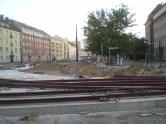 Budowa linii tramwajowej na skrzyżowaniu alei Piłsudskiego z ulicą Kościuszki (15 sierpnia 2015)