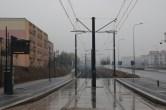 Budowa linii tramwajowej przy ulicy Witosa (18 października 2015) - przystanek Witosa