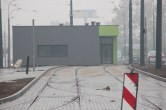 Budowa linii tramwajowej w ulicy Lubelskiej (18 października 2015) - tory odstawcze i budynek socjalny dla motorniczych przy przystanku końcowym Dworzec Główny
