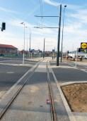 Linia tramwajowa przy ulicy Tuwima (31 października 2015) - skrzyżowanie z ulicą Iwaszkiewicza