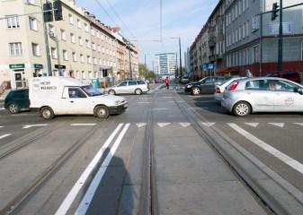 Linia tramwajowa w ulicy Kościuszki (31 października 2015) - skrzyżowanie z ulicą Kętrzyńskiego