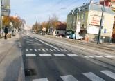 Linia tramwajowa w ulicy Kościuszki (31 października 2015) - przystanek wiedeński Filharmonia