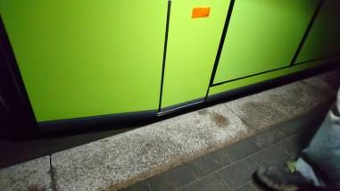Pierwsze przytarcie Solarisa Tramino Olsztyn S111O #3001 (19 listopada 2015)