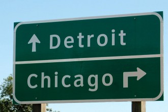 Directions   Visit WMU   Western Michigan University Photo of road sign in Kalamazoo pointing to Chicago and Detroit