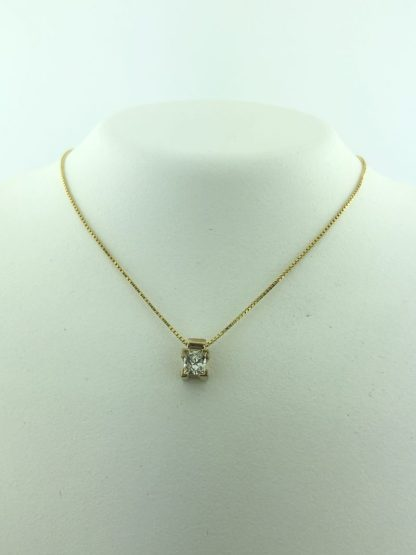 """14K YELLOW GOLD NECKLACE /0.25CT TOTAL DIAMOND/1.7G/16"""""""