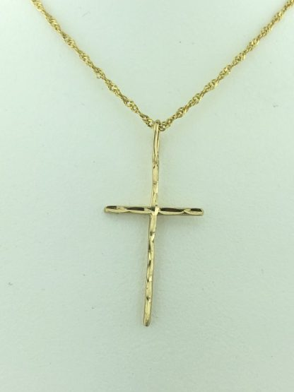 """14K YELLOW GOLD NECKLACE WITH CROSS PENDANT/1.4G/16"""""""