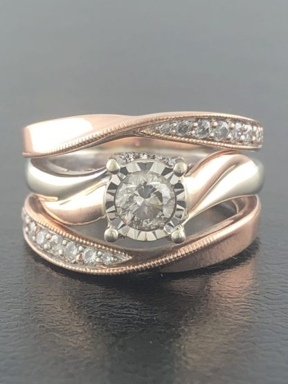 14K ROSE & YELLOW GOLD BRIDAL SET/6.9G/4.50""