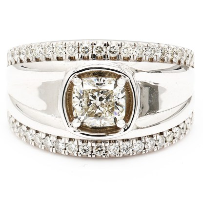 """GSI CERTIFIED SOLITAIRE DIAMOND ENGAGEMENT RING- 14K WHITE GOLD