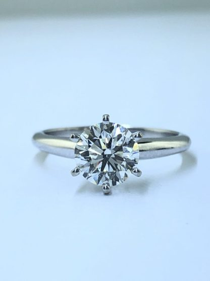 GIA CERTIFIED 14K GOLD ENGAGEMENT RING/2.9G/1.50CT TDW/COLOR I/ CLARITY SI1