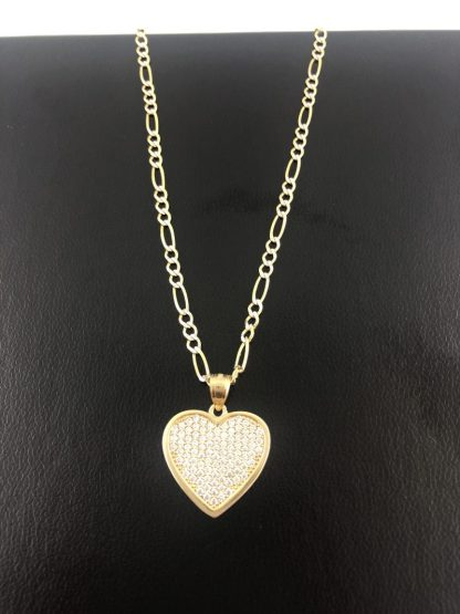 14K YELLOW GOLD FIGARO CHAIN NECKLACE WITH HEAR PENDANT/7.5G/21.50G