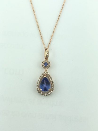 """14K ROSE GOLD NECKLACE WITH BLUE SAPPHIRE PENDANT/2.5G/SIZE 18"""""""