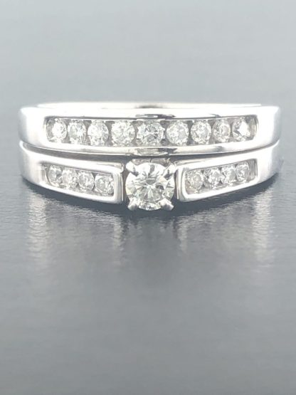 14K WHITE GOLD BRIDAL SET/6.6G/0.66CT TDW/7.50""