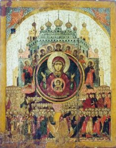 """Icon of the Theotokos, """"All of Creation Rejoices in Thee."""""""