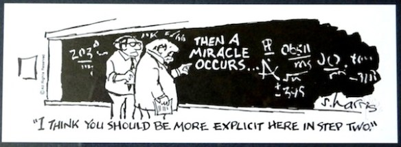 """""""Then a Miracle Occurs"""": cartoon by Sydney Harris"""