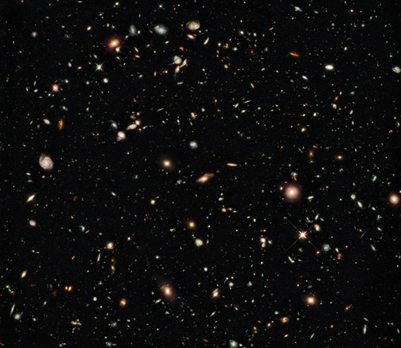 The Hubble eXtreme Deep Field image of the early universe.