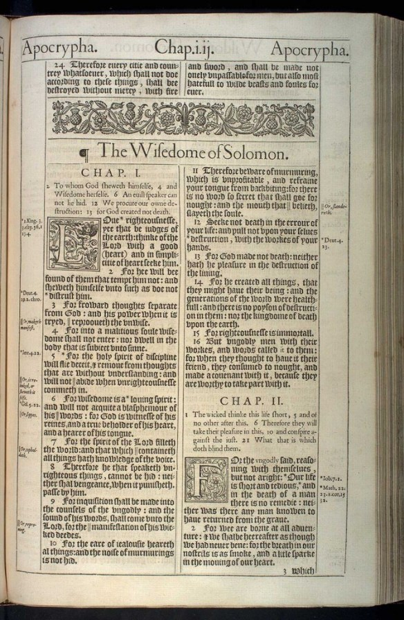 Scan of the Wisdom of Solomon from the original 1611 version of the King James Bible