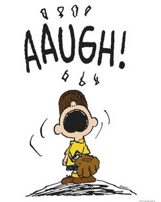 """Charlie Brown in the pitcher's mound, yelling """"Aaugh"""" in frustration."""