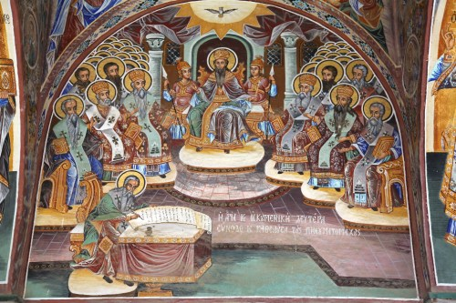 Fresco depicting the First General Council of Constantinople in the narthex of St. Athanasius church on Mount Athos.