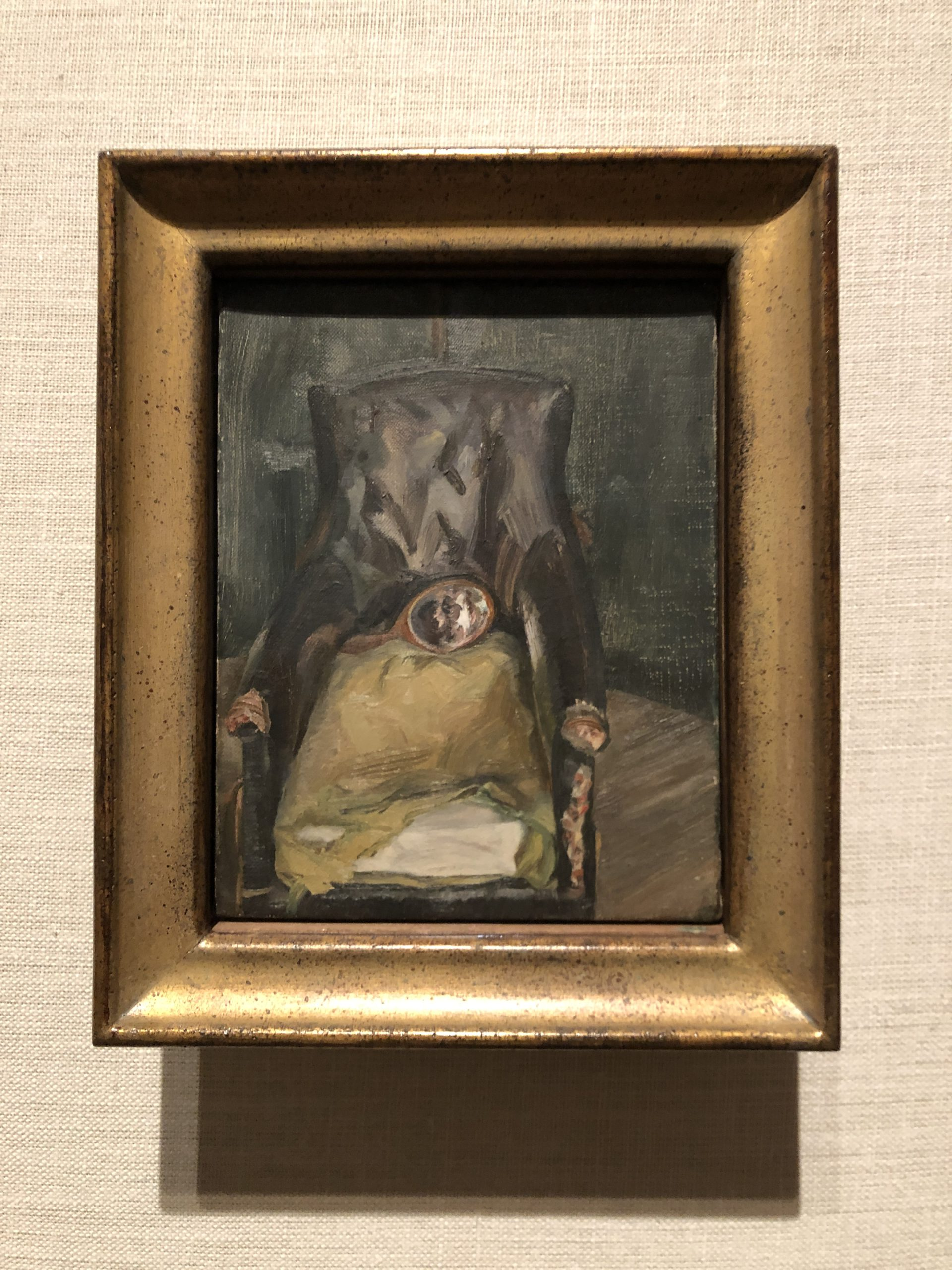 Image of artwork titled Hand Mirror on Chair by artist Lucian Freud