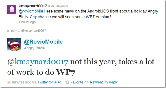 No Angry Birds to WP7