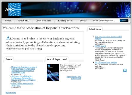 Screenshot of Association of Regional Observatories new site
