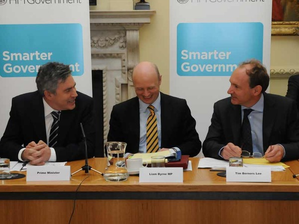 Gordon Brown, Liam Byrne and Sir Tim Berners-Lee at the Smarter Government seminar at Downing Street, 17th November 2009