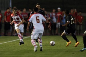 Mael Corboz scores his first goal as a Terp to help lift Maryland past Dayton 1-0. (Courtesy of UMTerps.com)