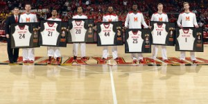 The Terps celebrated seven seniors prior to their game against Michigan on Saturday. (Courtesy of UMTerps.com)