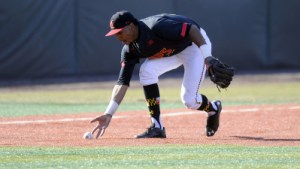 Jose Cuas hit a two run homer in game three to lift the Terps past Northwestern. (Courtesy of UMTerps.com)