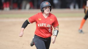 Shannon Bustillos broke the all-time Maryland RBI record in game three of the series. (Courtesy of UMTerps.com)