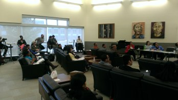 The GradTalks audience hangs out at the Lee Honors College lounge