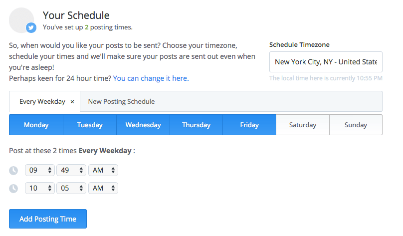 A Buffer user's options under the Scheduling tab. Source: Buffer