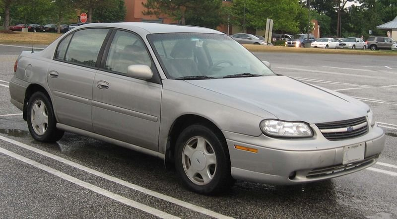 A tan 2001 Chevy Malibu. Stock photo.
