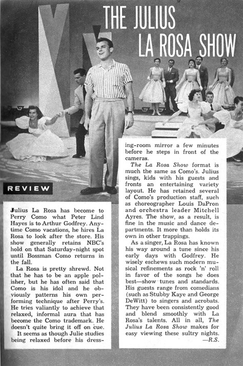 Julius LaRosa Show TV Guide Aug 17, 1957