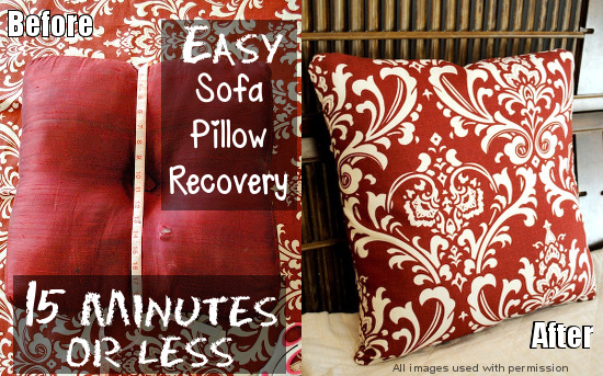 Easily Recover Sofa Pillows in 15 Minutes to Make Like New  Plus How     Easily Recover Sofa Pillows in 15 Minutes to Make Like New  Plus How To  Wash Throw Pillows