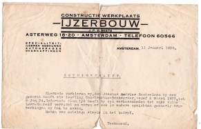 getuigschrift constructie werkplaats ijzerbouw