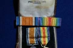 King George onderscheiding en miniatuur victory medaille wo1 eerste wereldoorlog Samuel Jenkins
