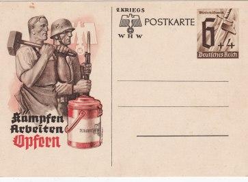 Kriegspostkarte kampfen arbeiten opfern