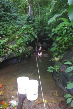 Eliza fishing the top pool at Taylor
