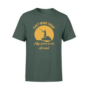 Fish Hooker T Shirt With Quote, My Arm Is In A Cast, Men, Cotton - Woastuff