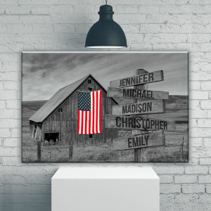 American Barn Multi-Names, Family Gifts, Black And White Design, Wall Decor, Custom Names Poster, Canvas, Metal Sign - Woastuff