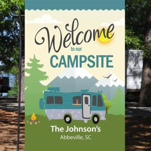 Welcome To Our Campsite, Camping Flag, Motorhome RV Decor, Custom Flag, Double Side, High Quality - Woastuff