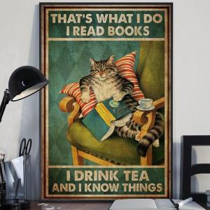 Book Reader Wall Art, Who Loves Cat And Reading, Cat Lover Poster, Wall Decor, Sublimation Printing - Woastuff