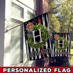Firefighter Custom Flag, Firefighter Never Forget Flag, Greenery Monogram Custom Name, American Flag In Background, Canvas - Woastuff
