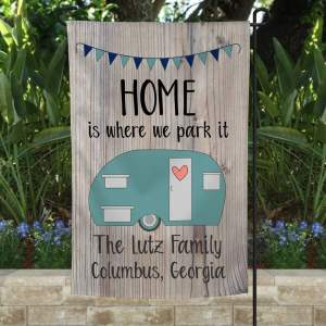 Campers Custom Flag, Camping Garden Flag, Rustic Look Design, Double Side, High Quality - Woastuff