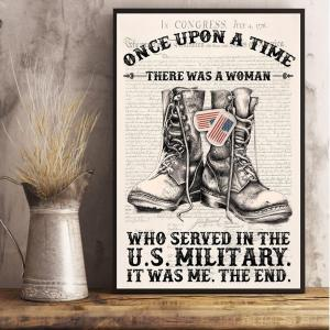 Woman Served In The US Military, Tactical boots, Veteran Woman, Wall Decor, Canvas Options - Woastuff