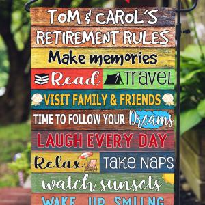 Retirement Gift, Retirement Rules Custom Flag, Grandparent Gift, Colorful Design, Double Side, High Quality - Woastuff